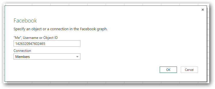 Get data from Facebook with Excel 2013, Power Pivot and