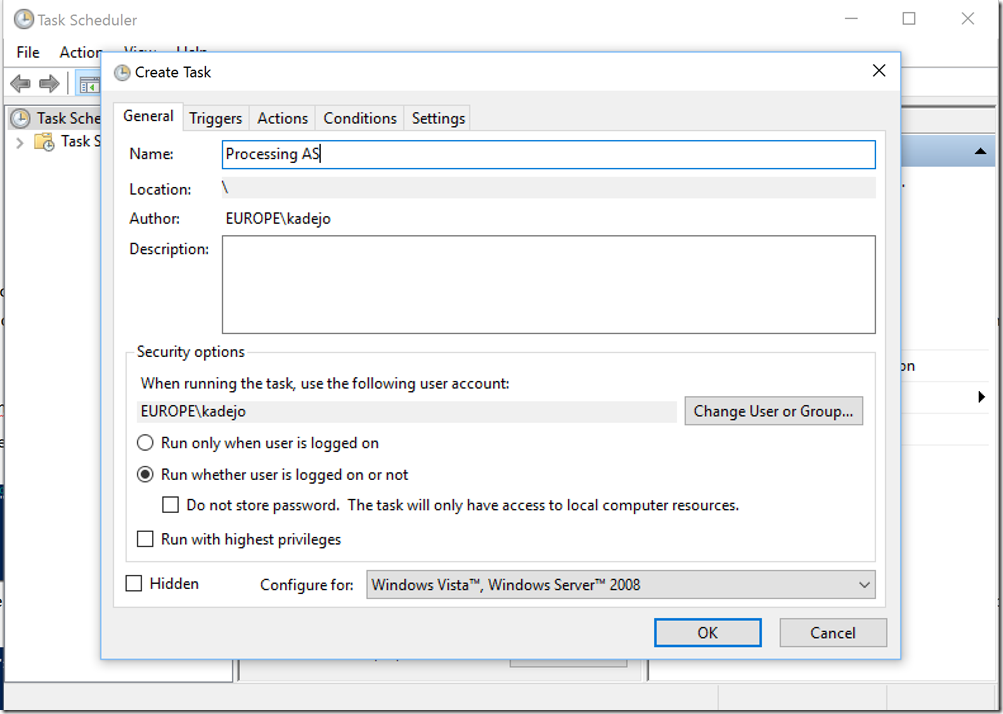 image thumb 23 Use Task Scheduler and PowerShell to process your SSAS database